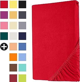 Heim24h® Drap-Housse revêtement Matelas Rouge 140x200-160x200 cm d'une Hauteur de 18 à 30 cm 100% Coton Qualité Supérieur ...