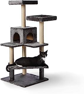 Amazon Basics - Albero per gatti con piattaforme multiple disposte a scala, 61 x 55,8 x 130 cm, grigio scuro