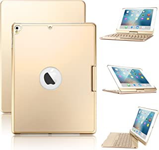 New iPad 9.7/iPad Pro 9.7/iPad Air Keyboard Case,Boriyuan 7 Color Backlit Bluetooth Keyboard Case Folio Smart 360 Rotate Stand Keyboard Cover for iPad Air/iPad Air 2,iPad Pro 9.7 and iPad 9.7(Gold)
