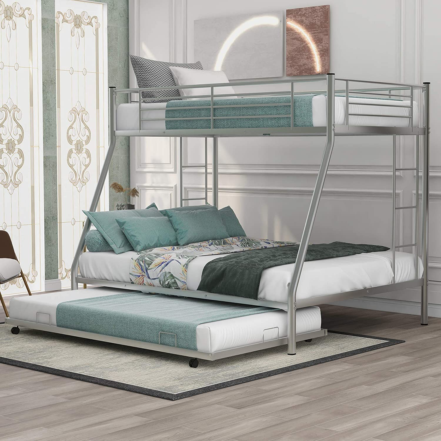 Knocbel Twin Surprise price Over Full Bunk Bed Trundle Pl Metal Long-awaited with Size