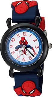 MARVEL Boys Spider-Man Analog-Quartz Watch with Plastic Strap, Blue, 16 (Model: WMA000162