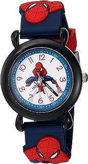 Boys Spider-Man Analog-Quartz Watch with Plastic Strap, Blue, 16 (Model: WMA000162)