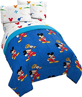 Jay Franco Disney Mickey Mouse Trophy 4 Piece Twin Bed Set - Includes Reversible Comforter & Sheet Set - Super Soft Fade Resistant Polyester - (Official Disney Product)