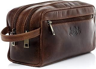 Sid Vain Real Leather Wash Bag Gatwick Large Travel Overnight Wash Gym Shaving Bag for Men's or Ladies Toiletry Bag Women Men Brown