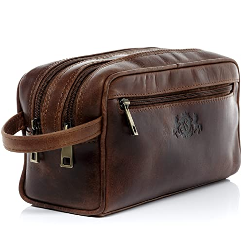 8f29c980f5 SID   VAIN real leather wash bag GATWICK Large Travel Overnight Wash Gym  Shaving Bag For