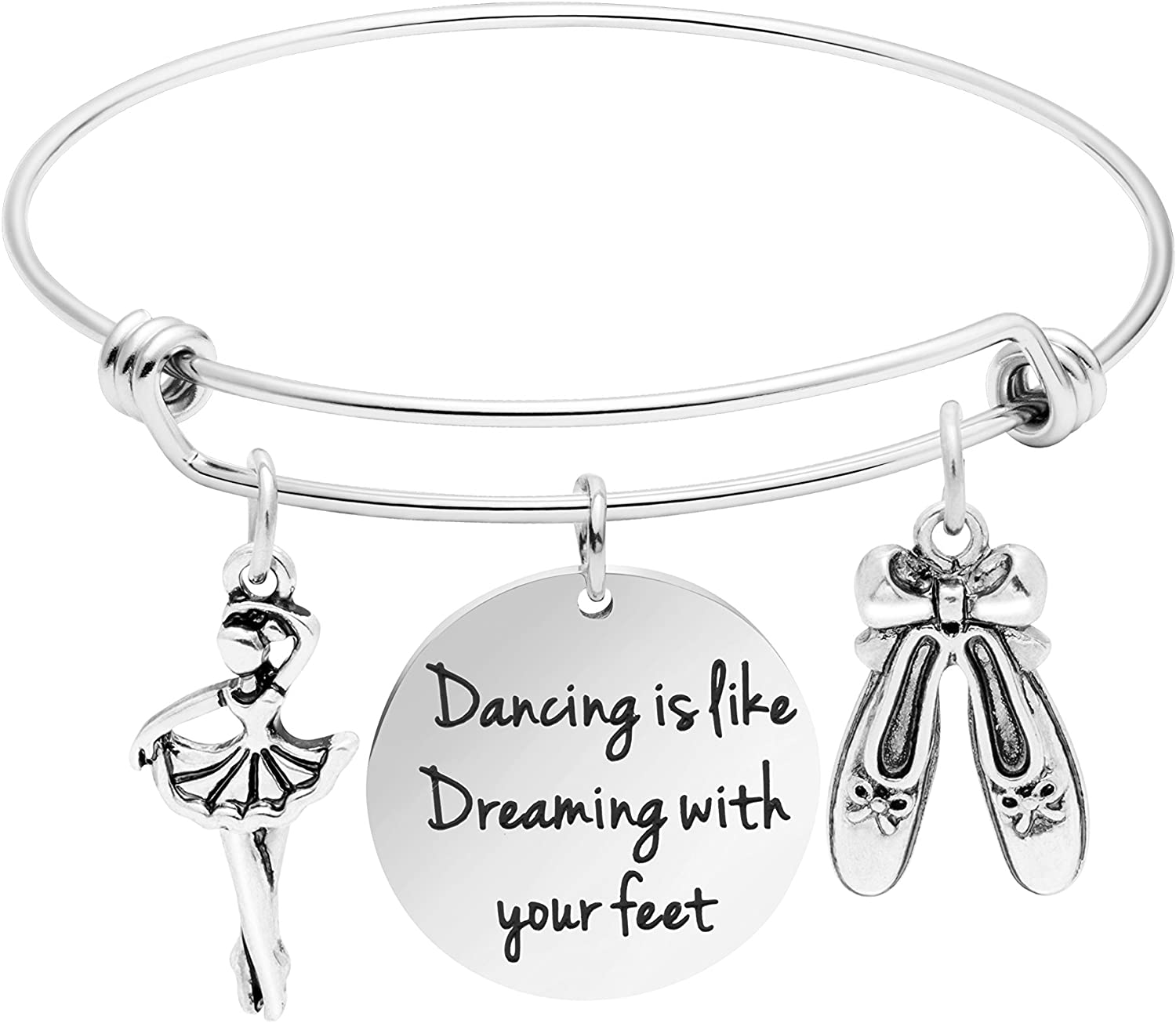 Awegift Inspirational Bangle Bracelet for Women Girls Stainless Steel Motivational Encourage Jewelry Birthday Mother's Day Christmas for Mother Father Daughter Brother Sister