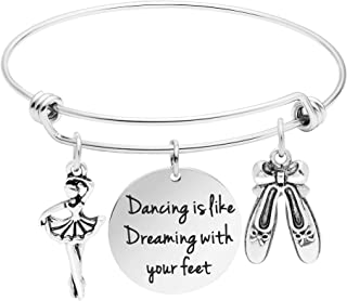 Awegift Jewelry Gift for Girls Dancer Bracelet Expandable Bangle Charm Personalized Jewelry for Women Dance is Like Dreaming with Your feet