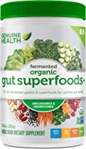 Genuine Health Fermented Organic Gut Superfoods+, Unflavored & Unsweetened, Vegan Superfoods Powder, Prebiotics, Digestive Support, Gluten Free, Non GMO, 10.5 Ounce Tub