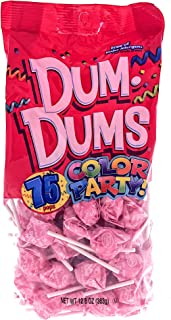 Light Pink Dum Dums Color Party - Bubble Gum Flavored - 75 Count Bag - 12.8 ounces - Includes Free How To Build a Candy Buffet Guide