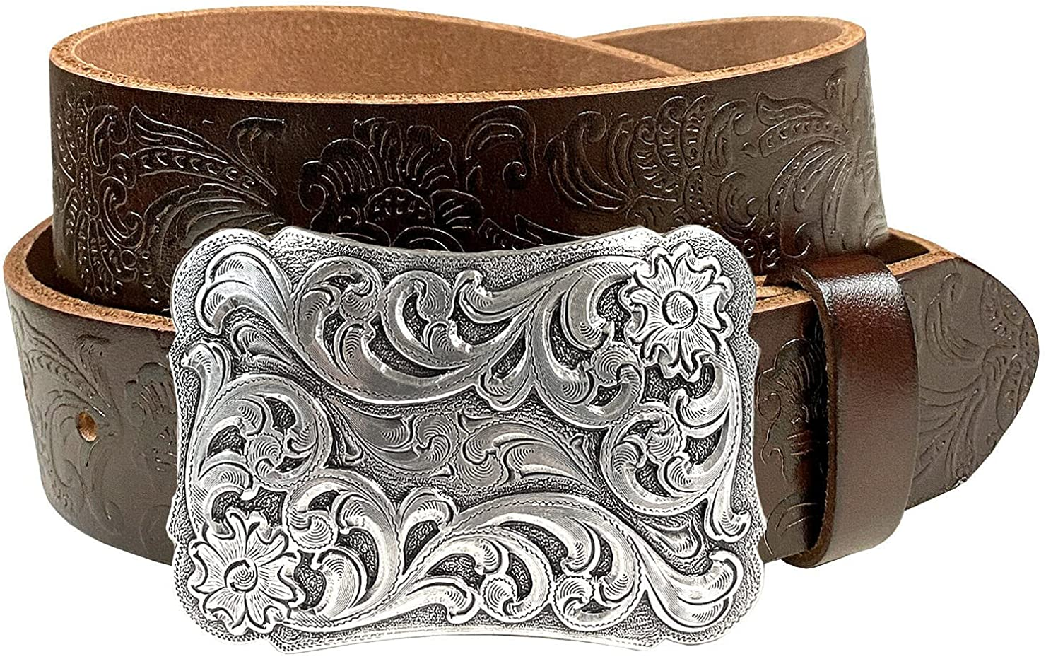 Genuine Free Shipping Western Fashion Style Floral Engraved Grain Full Attention brand Buckle