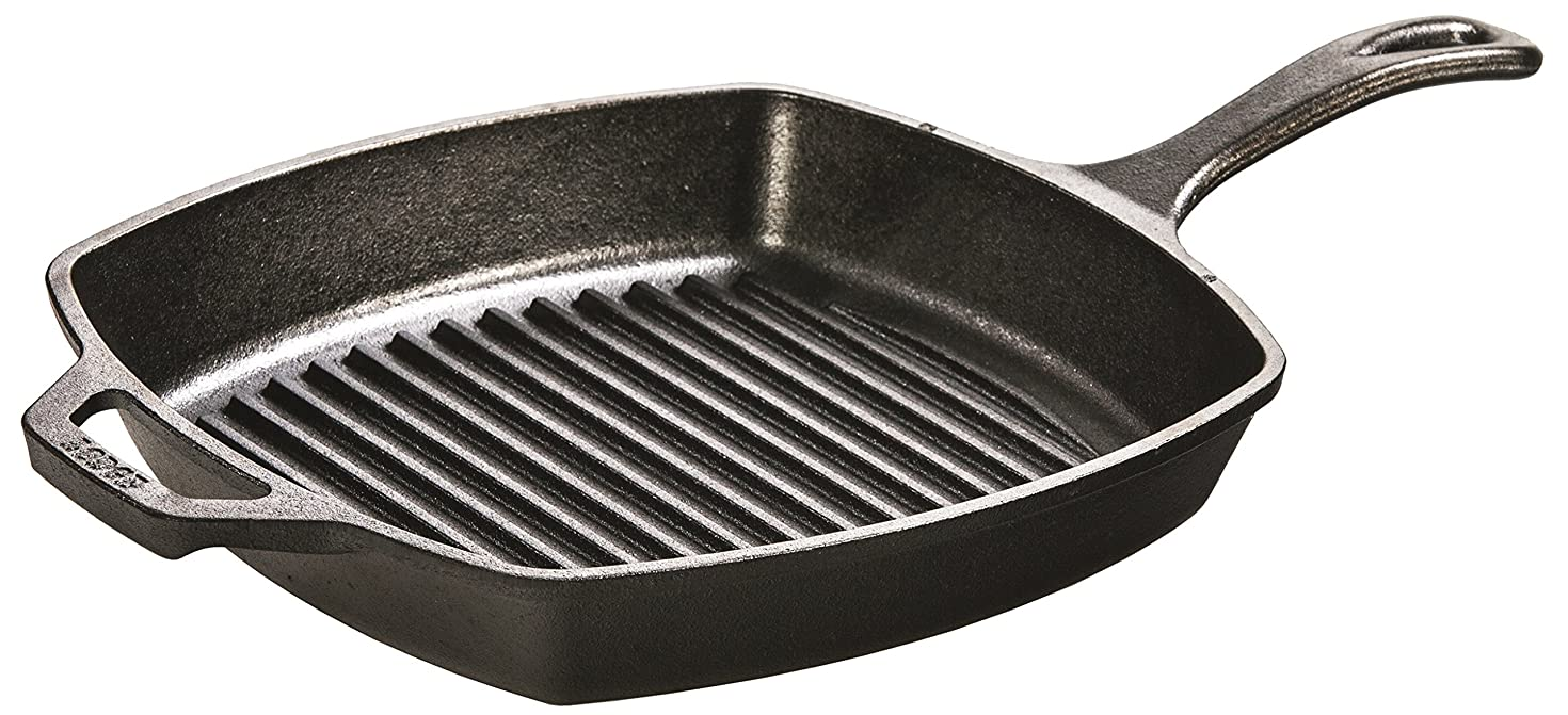 Lodge 10.5 Inch Square Cast Iron Grill Pan. Pre-seasoned Grill Pan with Easy Grease Draining for Grilling Bacon, Steak, and Meats.