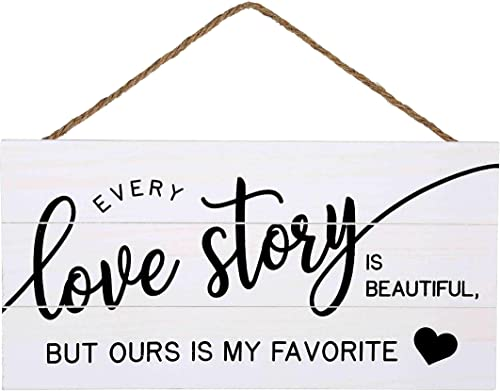 lowest Love Story Wood Plank sale Hanging Sign for Home Decor online sale (13.75 x 6.9 Inches with White Background) outlet sale