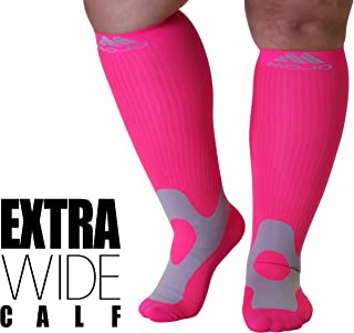 XXL Mojo Hot Pink Compression Socks 20-30mmHg - Extra Wide Calf Plus Sized 2XL Medical Graduated Support Socks for Men and Woman Compression Stockings with Cushioned Foot and Heel