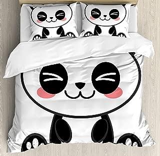 Ambesonne Anime Duvet Cover Set, Cartoon Smiling Panda Fun Animal Theme Japanese Manga Kids Teen Art Print, Decorative 3 Piece Bedding Set with 2 Pillow Shams, Queen Size, White and Black