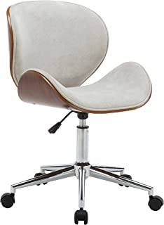 Porthos Home Branson Mid-century Style Office Chairs With Fabric Upholstery, Adjustable Height, 360° Swivel And Stainless Steel Legs, Cream