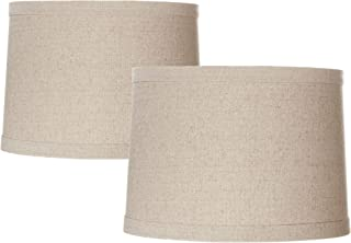 Set of 2 Natural Linen Drum Shades 13x14x10 (Spider) - Springcrest