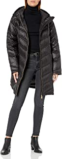 Women's Hooded Chevron Quilted Packable Down Jacket (Regular and Plus)