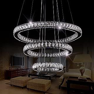 SEFINN FOUR LED Chandelier 3 Modern Flush Mount Crystal Ceiling Pendant Lights 60 inch Length 28 inch Outer Ring Diameter, Oval (30+50+70)
