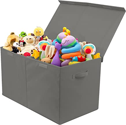 Sorbus Toy Chest with Flip-Top Lid,  Kids Collapsible Storage for Nursery,  Playroom,  Closet,  Home Organization,  Large (Gray)