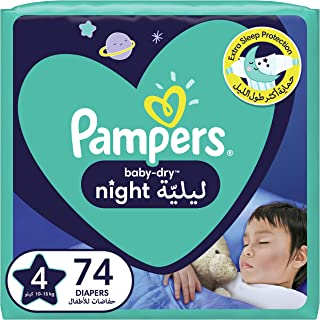Pampers Baby-Dry Night Diapers, size 4, 10-15kg, 74 count