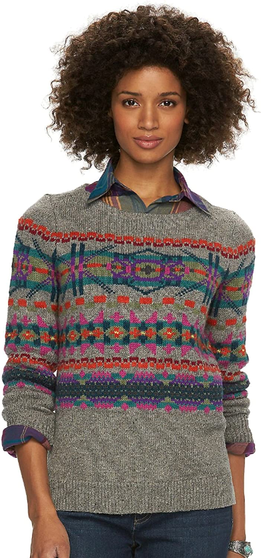 Chaps Women's Fairisle Crewneck Sweater, Grey Multi