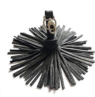 Portachiavi Frange in vera Pelle nera donna Ciondolo a forma di Nappa modello Gaja Ganza Roma Handmade