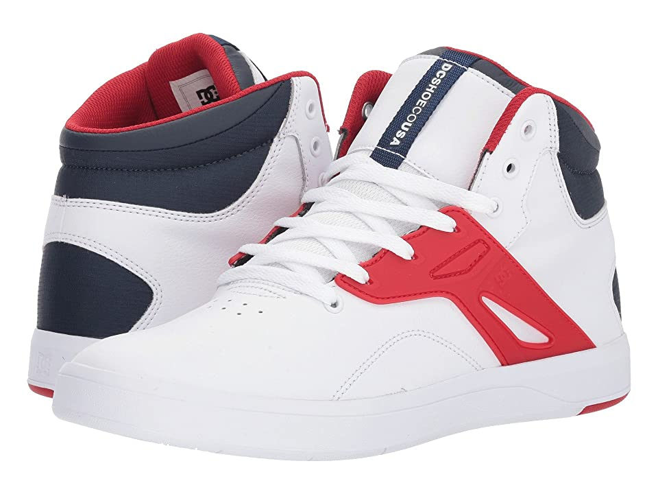 DC Frequency High (White/Navy/Red) Men's Skate Shoes, Multi