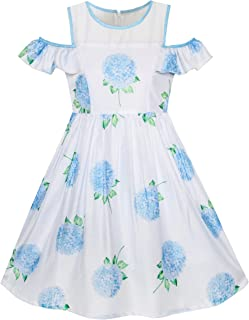Sunny Fashion Girls Dress Blue Hydrangea Flower Cold Shoulder Party Princess Size 5-12 Years
