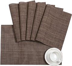 Pauwer Placemats Set for Dining Table Plastic Woven Vinyl Place Mats Wipe Clean Non Slip Heat Resistant Washable Kitchen T...