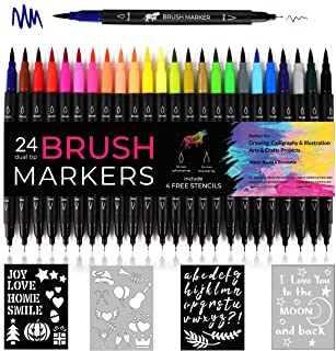 Dual Tip Brush Marker Pens By Vaci Markers Set of 24 Fineliners Art Markers Water Based Highlighters Brush for Coloring Bo...