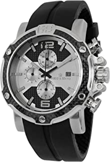 Herzog & Söhne Men's Quartz Watch with Silver Dial Chronograph Display and Black Silicone Strap HS201-112