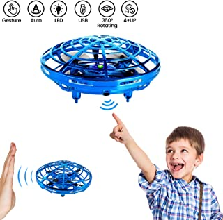 Bix Flying Toys Drone, Hand-Operated Flying Ball, Interactive Infrared Induction Helicopter Ball 360° Rotating Shinning LED Lights, Flying Toy Boys Girls Kids Holiday Birthday Gifts
