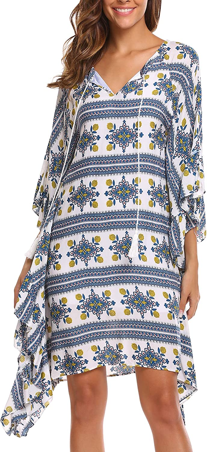 BEAUTYTALK Women's Bohemian 3 4 Batwing Sleeve Neck Tie Printed Casual Loose Tunic Dress