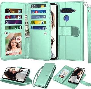 LG V40 ThinQ Wallet Case, LG V40 Case, LG V40 Storm Case, Njjex [9 Card Slots] PU Leather ID Credit Folio Flip [Detachable][Kickstand] Magnetic Phone Cover & Wrist Strap for LG V40 2018 [Mint]