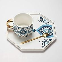 طقم اكواب وصحون سيراميك بتصميم ثماني الشكل مع ملعقة ذهبية - 230 مل