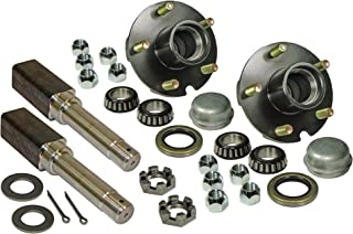 Rigid Hitch Pair of 5-Bolt on 4-1/2 Inch Hub Assembly (AKSQ-2000545) Includes (2) Square Stock 1 Inch Straight Spindles & Bearings