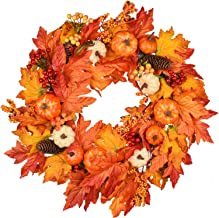 DearHouse 22 Inch Fall Wreath, Autumn Maple Leaf Harvest Thanksgiving Door Wreath for Front Door with Pumpkins, Pinecone, Maple Leaf and Berry