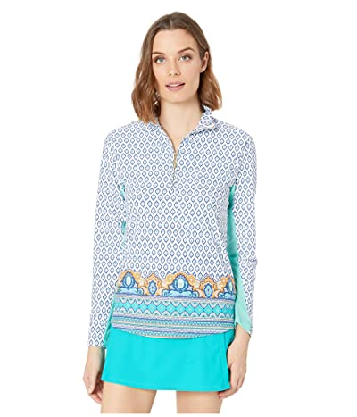 Cabana Life Jewel Scarf Wicking Performance Zip Top (Turquoise Multi) Women