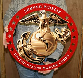 USMC Globe Round Enlisted Metal Sign w/ Red Circle 19