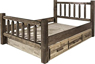 Montana Woodworks MWHCSBCAKSL Homestead Collection California King Bed with Storage, Stain & Lacquer Finish