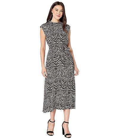 Vince Camuto Cap Sleeve Belted Zebra Peaks Dress (Rich Black) Women