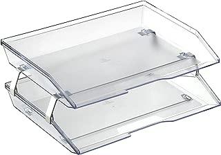 Acrimet Facility 2 Tier Letter Tray Side Load Plastic Desktop File Organizer (Clear Crystal Color)