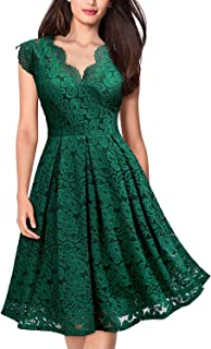 Women's Vintage Floral Lace V Neck Cocktail Party Swing Dress