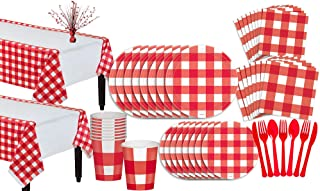 Party City American Summer Red Gingham Party Supplies for 16 Guests, 131 Pieces, Includes Tableware and a Centerpiece