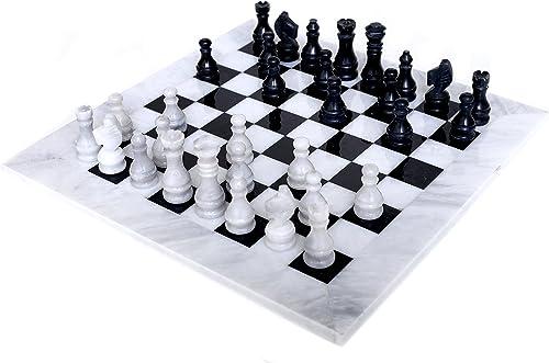 RADICALn 40CM Größe handgefertigte Weiße und Schwarz gewichtete Marmor Voll Schachspiel Set Staunton und Ambassador Style Tournament Schach-Sets für Erwachsene Modern Chess Set