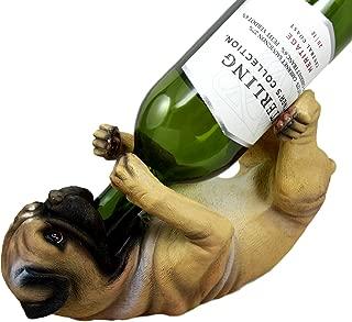 Ebros Lifelike Purebreed Pedigree Canine Adorable Fawn Pug Dog Wine Bottle Holder Figurine Statue As Kitchen Wine Cellar Centerpiece Decor Storage Organizer (Fawn Pug)