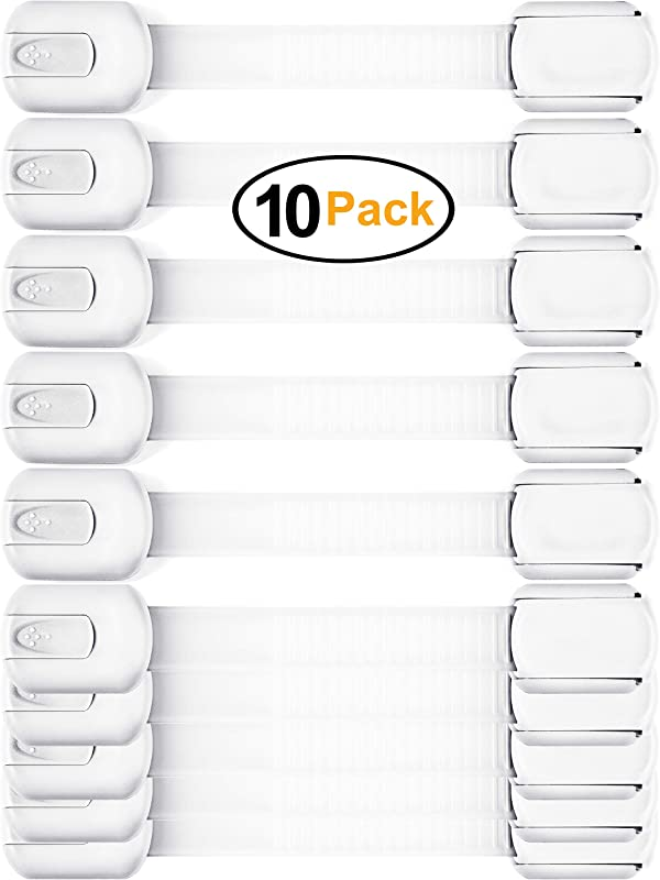 Baby Safety Cabinet Locks Value Pack 10 Straps To Baby Proof Cabinets Drawers Toilet Fridge More Easy To Use Easy To Install Child Safety Locks With 3m Adhesive No Tools Needed White