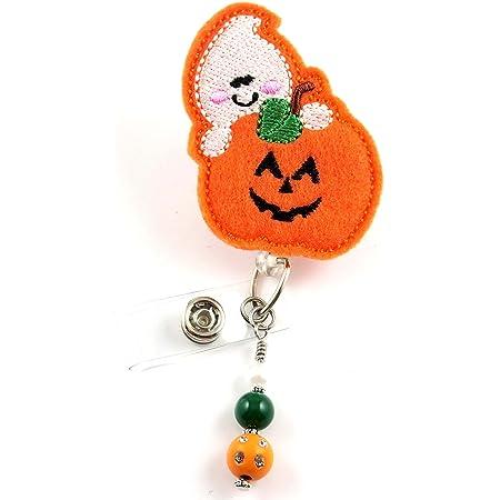 Topper OR Magnet Halloween Badge Reel Retractable Badge Halloween Badge Pull Nurse Badge Reel Name Badge Holder Pumpkin Badge Reel