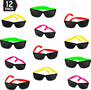 12 Pack 80`s Style Neon Party Sunglasses – Fantastic Party Pack Favors, Party Toys For Goody Bags by Big Mo's Toys