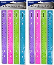 Bazic – Jeweltones Color Ruler, Assorted Colors, 12 Inches (2 Pack of 4)